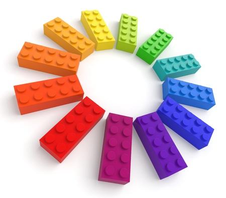 Farbrad von Spielzeug Ziegel