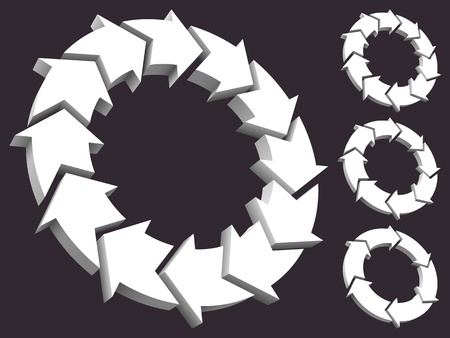 Set of circular arrows 3D Illustration