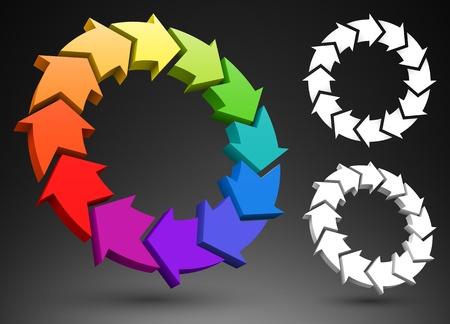 recycling logo: Arrows color wheel 3D