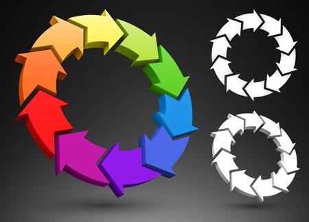 logo recyclage: Flèches 3D roue des couleurs Illustration