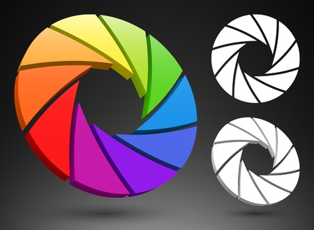 Aperture Farbrad 3D Vektorgrafik