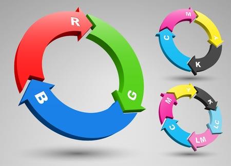 RGB and CMYK arrows set