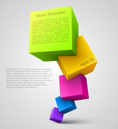 kocka: Színes kockák 3D Illusztráció