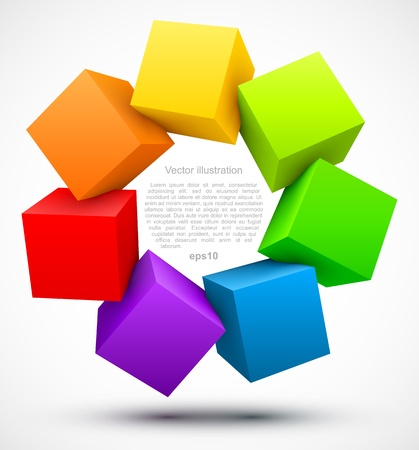 Colored cubes 3D Ilustrace