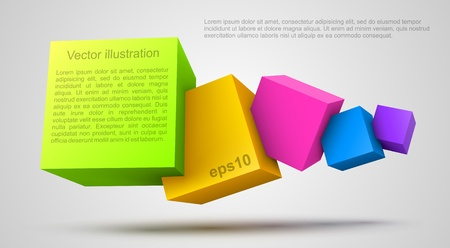 abstract 3d blocks: Colorful cubes 3D