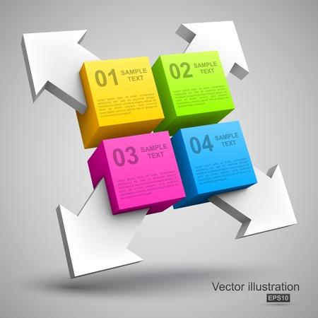 graficas: Cubos coloridos con flechas 3D