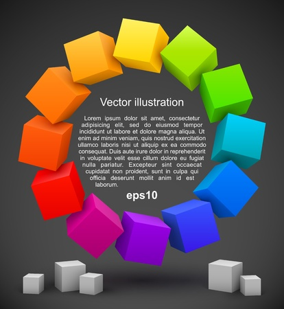 Colored cubes 3D Illustration