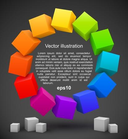 Colored cubes 3D Illustration
