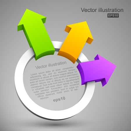 Colorful arrows with circle 3D Vettoriali