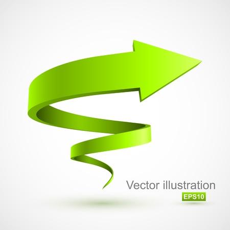 나선: 녹색 나선형 화살표 3D