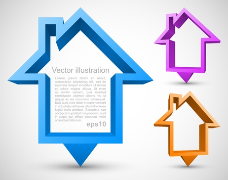 Set of colorful house pointers Vector