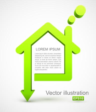 緑の家のアイコン  イラスト・ベクター素材