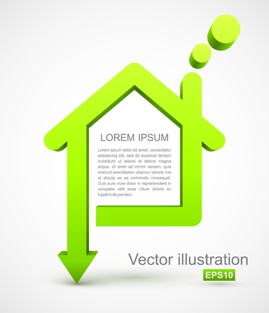 eco notice: Green house icon Illustration