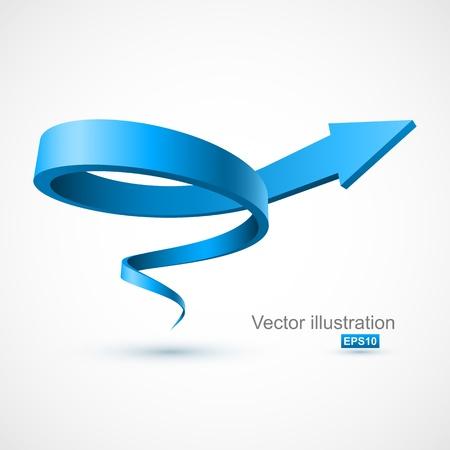 青色のスパイラル矢印 3 D  イラスト・ベクター素材