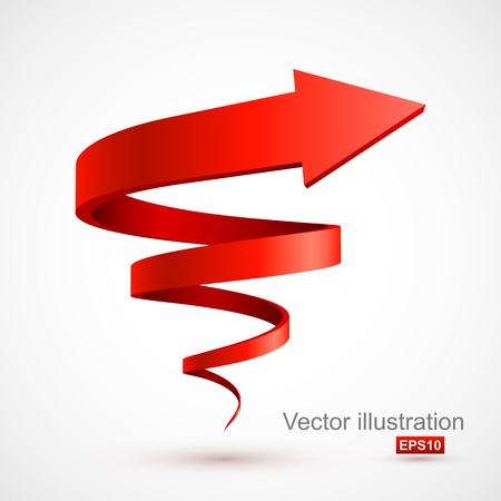 Red spiral arrow 3D Illustration