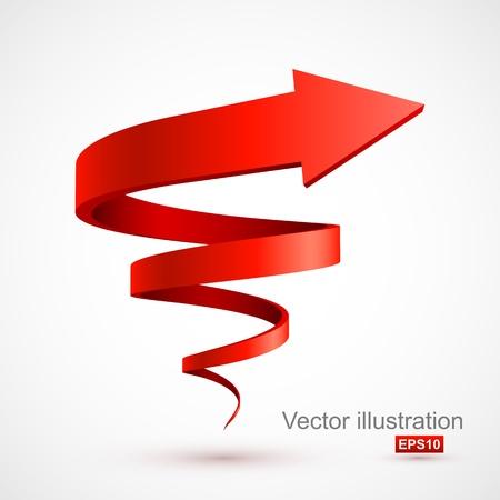 Rojo espiral flecha 3D