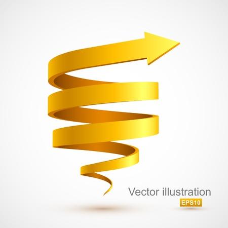 ascending: Amarillo espiral flecha 3D Vectores