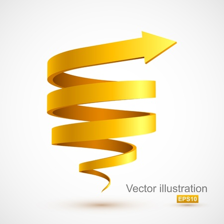 turn yellow: Yellow spiral arrow 3D