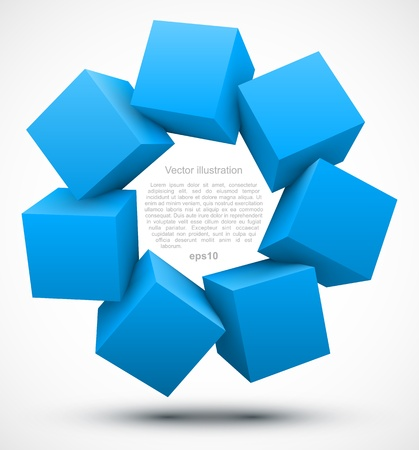 Blue cubes 3D Vector
