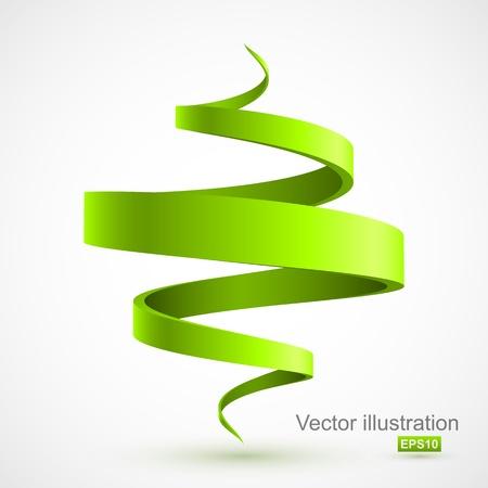 나선: 녹색 나선형 3D