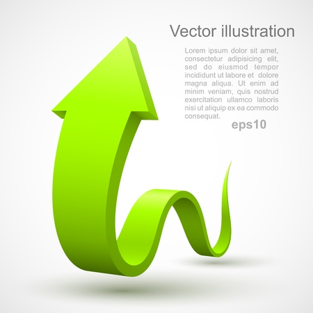 Green wavy arrow 3D