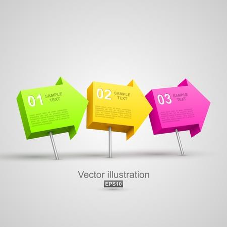 pushpins: Colorido tachuelas flecha 3D