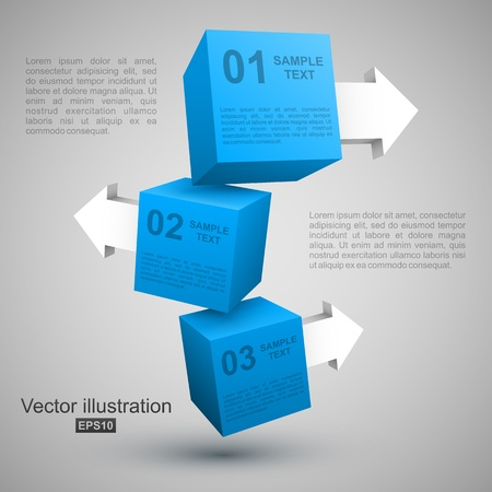 Three blue boxes with arrows 3D