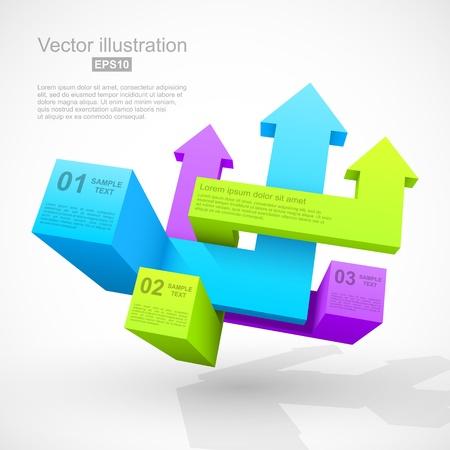 Abstract geometric arrows 3D Illustration