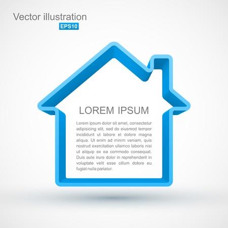 Blue house outline Illustration