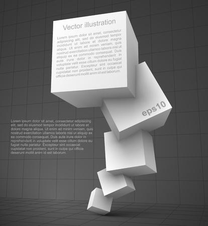 box template: White cubes 3D