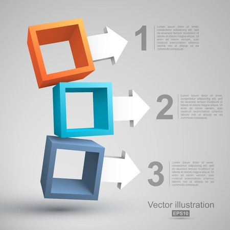 abstract 3d blocks: Three empty boxes with arrows 3D