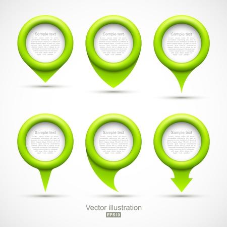 Set of green circle pointers  イラスト・ベクター素材