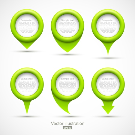 Set of green circle pointers Vectores