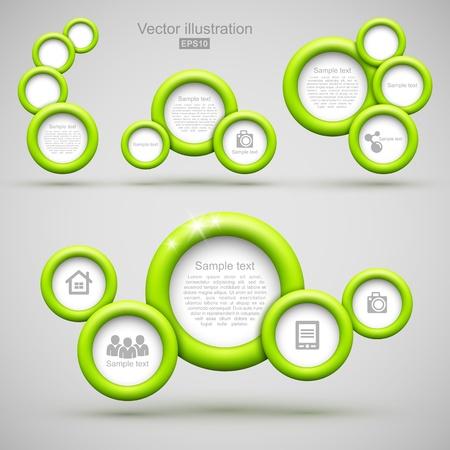 Set of green circle banners
