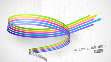 upward graph: Colored spiral arrow 3D
