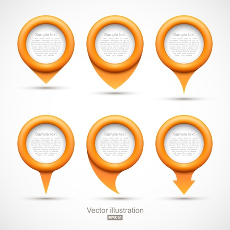needle tip: Set of orange circle pointers Illustration
