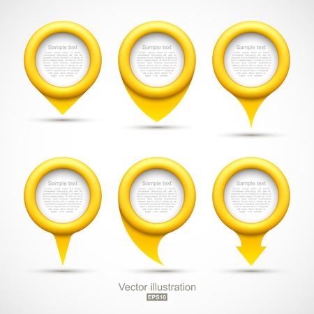 Set of yellow circle pointers Illustration