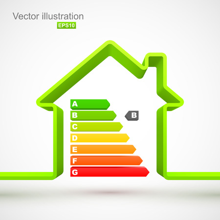 energy efficiency: Green house outline with energy efficiency rating Illustration
