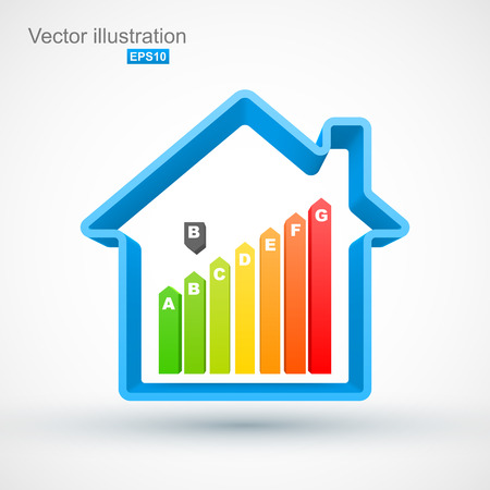 house energy: Blue house outline with energy efficiency rating