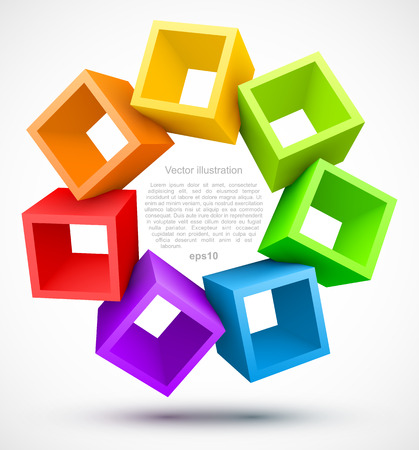 Colored empty boxes 3D