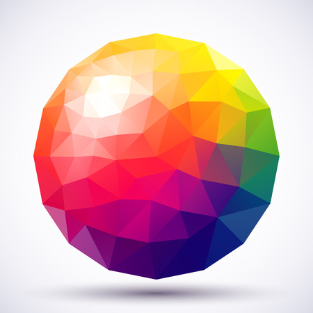 rainbow sphere: Abstract low-poly sphere