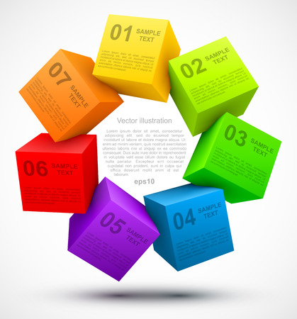 Colored cubes 3D with options