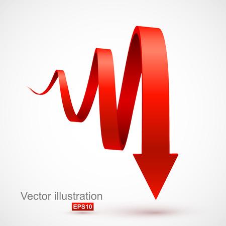 Rouge spirale flèche 3D Vecteurs
