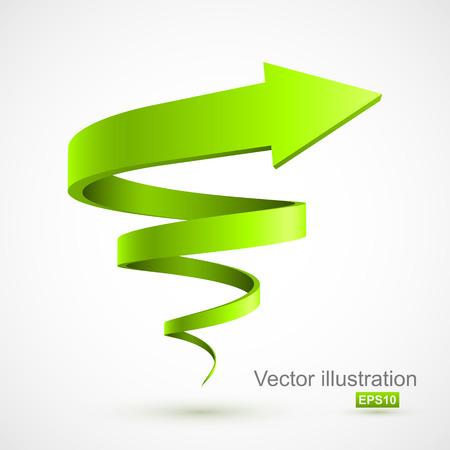 緑スパイラルアロー 3D  イラスト・ベクター素材