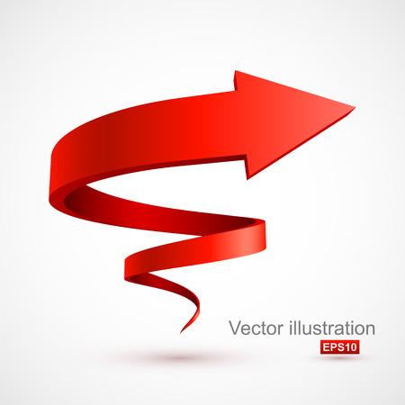 Red spiral arrow 3D Illustration