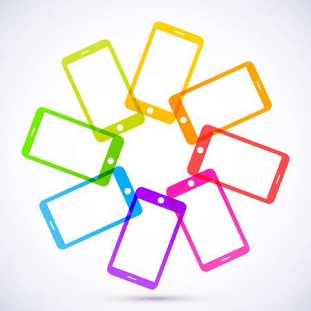 Abstract colored mobile phones Vector