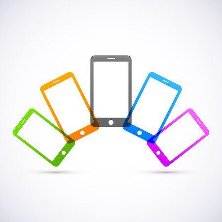 Abstract colored mobile phones