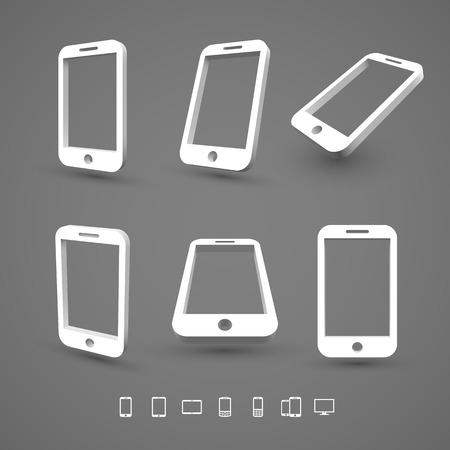 smart  phone: Smart phone icons 3D