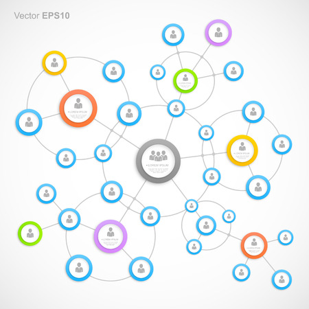 Abstract network with circles Vector