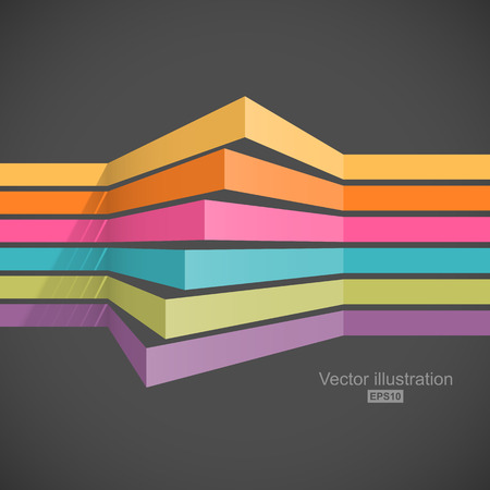 Colorful horizontal lines in perspective. Easy to change color  イラスト・ベクター素材